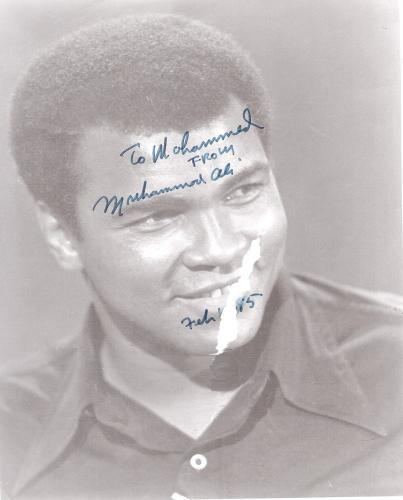 Muhammad Ali Autographed picture given to Tripoli Restaurant owner, also named Mohamad.