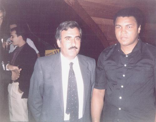 Muhammd Ali and Tripoli Restaurant owner Mohamad Salem in summer of 1985